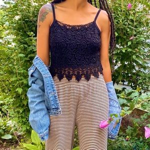 90s Vintage Boho Crochet Crop Ribbed Tank Black M